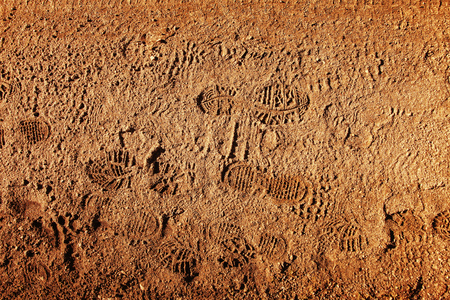 Imprint of the shoes on mud with copy space.