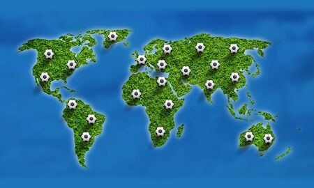National abstract soccer background with world grass map and illustrated soccer balls.