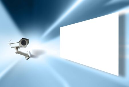 Cctv surveillance camera monitoring and displays white blank illustrated screen. Stock Photo