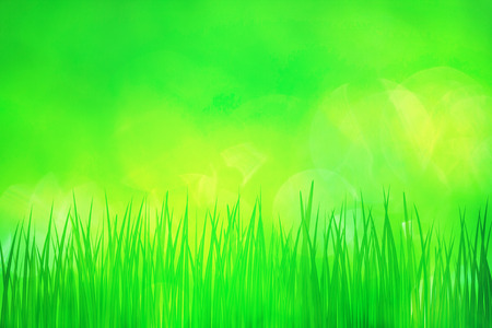 Green spring grass with bright yellow green bokeh background, illustration.