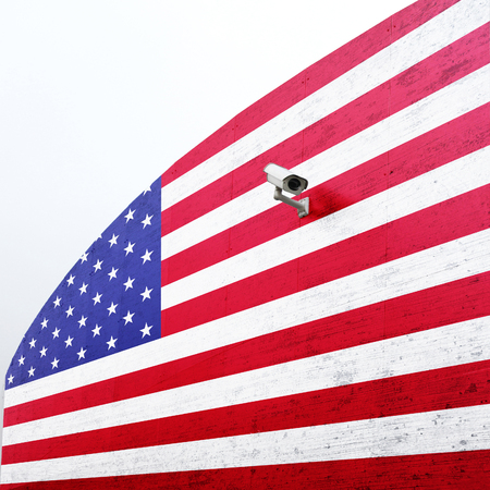border patrol: United States of America flag with cctv on new big metal wall. Concept political relations with neighbors. Stock Photo