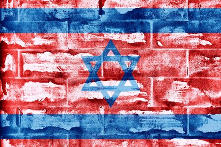 border patrol: Textured red cement brick wall with painted Israel flag background. Concept political relations with neighbors.