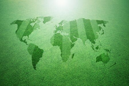 mapa conceptual: Conceptual sunny green soccer grass field pattern with world map background.