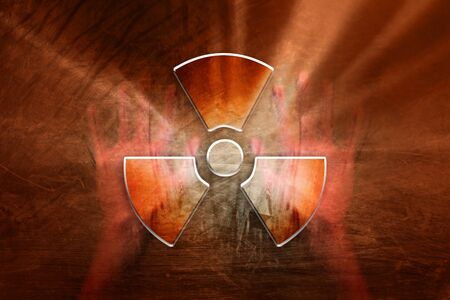 radioactive symbol: Conceptual shiny radioactive symbol with human hands on the grunge orange red colored illustration background. Stock Photo
