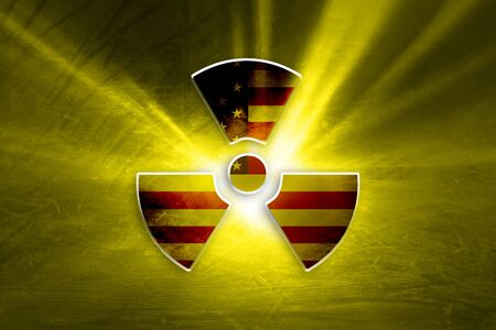 Conceptual shiny radioactive symbol with painted United States of America flag on the grunge yellow colored illustration background.