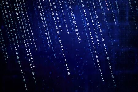 Abstract dark blue bokeh light background with matrix binary numbers illustration.