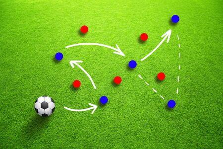 Soccer game strategy plan or football field with illustrated soccer ball and game strategy plan team on sunny green grass background. Stock Photo