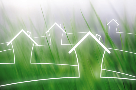 Eco concept home houses healthy living copy space illustration on motion blurred meadow background.