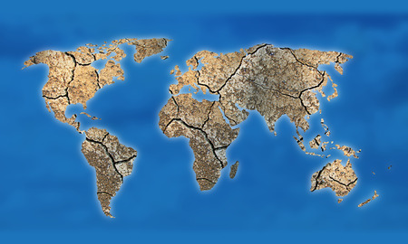 Map of the world with continents from dry deserted soil.