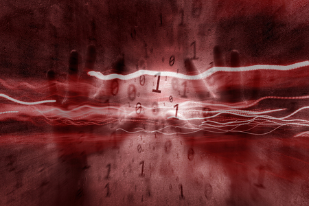 infected: Conceptual dark red colored abstract binary numbers data illustration with human hands. Conceptual artificial intelligence background.  Stock Photo