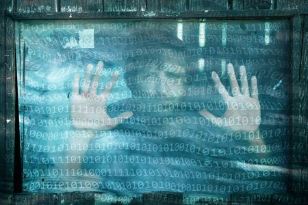infected: Turquoise colored abstract binary numbers data with human. Conceptual artificial intelligence background. Stock Photo