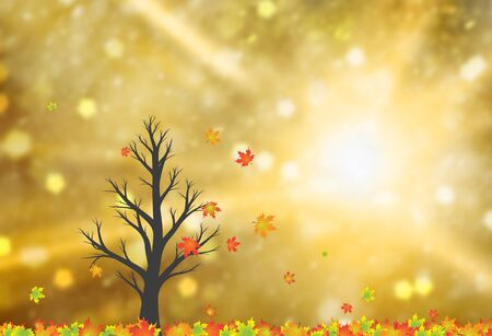 Magic colorful autumn season windy tree with bright sunny copy space background.