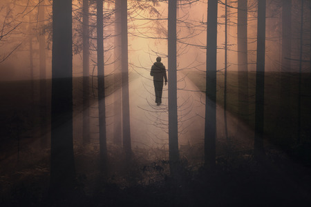 Abstract man walking alone on foggy rural misty road with trees. Dual exposure used. Stock Photo