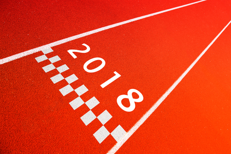 Conceptual entering New Year 2018 background. Sport decoration. Number with abstract start line mark.