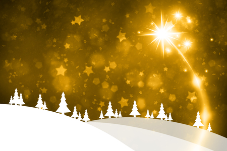 Gold colored Happy New Year landscape illustration background with fireworks, snowflakes and stars.  Stock Photo