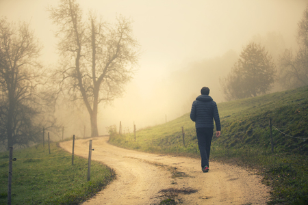Back view of a person walks alone on morning countryside road.