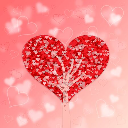 Love tree illustration with crown in the form of one big red heart. Stock Photo