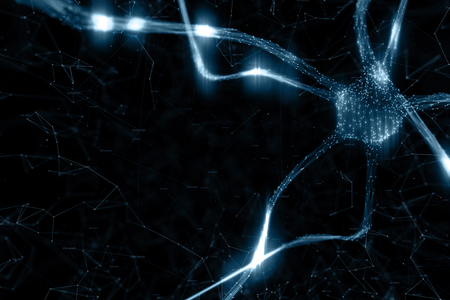 Artistic dark blue colored neuron cell in the brain on black illustration background. Stock Photo