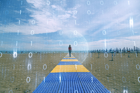 Woman walking on beach with abstract computer cyberspace network background.