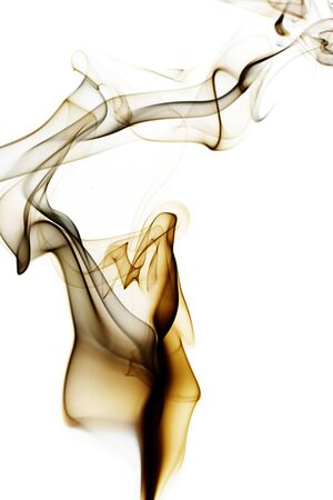 amber fragile abstract smoke on white background photo