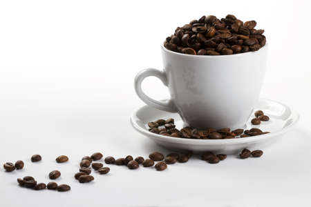 one coffee cup filled with coffee beans on white background photo