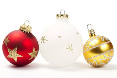 red white and golden christmas ball on white background Stock Photo