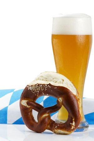 wheat beer with bavarian towel and pretzel on white background Stock Photo - 7813935