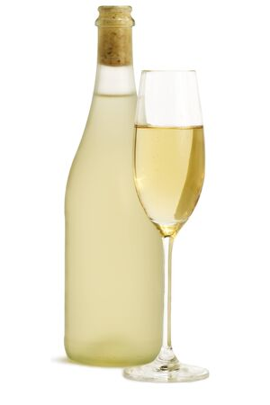 glass of champagne in front of standing dull prosecco bottle on white background photo