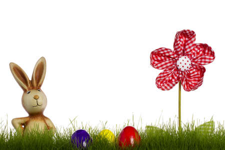 easter bunny behind grass with drapery flower and easter eggs with white background photo