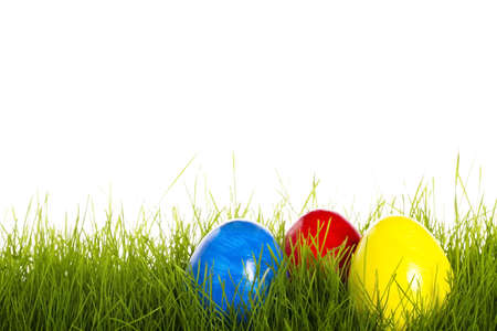 red blue and yellow easter egg in grass with white background photo