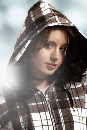 hoody: beautiful portrait of young woman wearing hoody Stock Photo