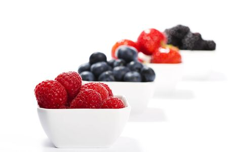 wildberry: raspberries in front of wild berries in bowls on white background Stock Photo