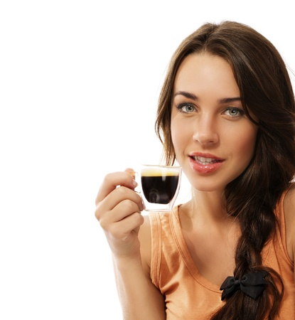 beautiful woman with a cup of espresso coffee on white background