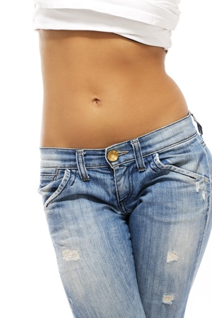 abdomens: belly of a beautiful woman on white background