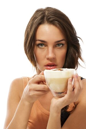 cappuccino cup: young beautiful woman holding cappuccino coffee on white background