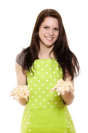 young woman holding messy dough with her handy on white background Stock Photo - 14031310