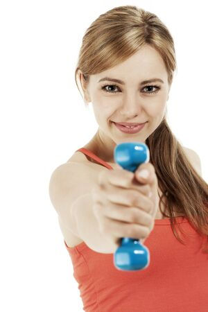 dumb: blonde fitness woman exercising with her dumbbell on white background Stock Photo