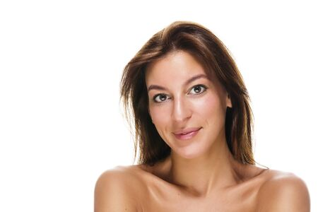 head on shoulder: portrait of a beautiful brunette smiling woman on white background Stock Photo