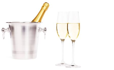 two glasses of champagne with a champagne bottle in a bucket on white background Stock Photo
