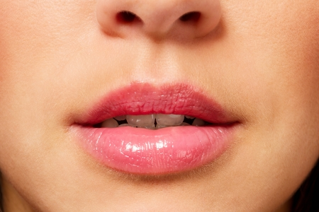 closeup of a mouth from a gorgeous woman photo