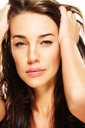 closeup portraiture of a gorgeous brunette woman photo