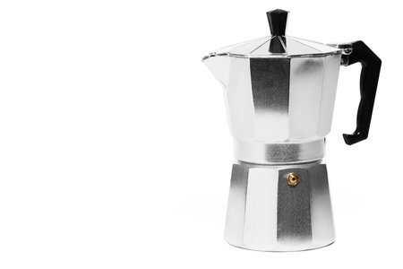 metal espresso coffee maker on white background photo