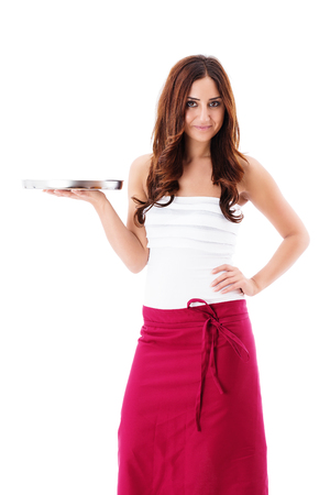 smiling brunette waitress presenting a empty tray on white background photo