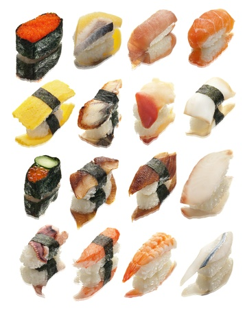 16 different pieces of sushi shot on glass with reflections.