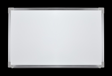 A brand new, clean and shiny whiteboard isolated on black.
