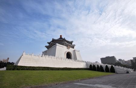 A wide angle shot taken of Chiang Kai-Shek memorial hall in Taipei City, Taiwan. Stock Photo