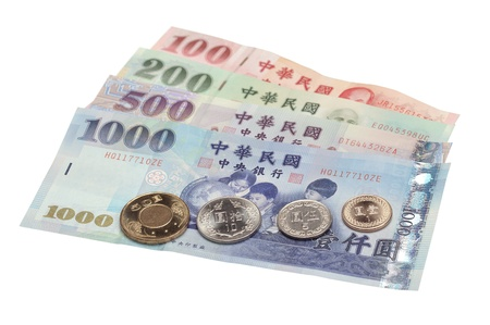An assortment of Taiwanese bills and coins.