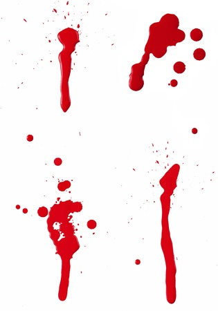 A composite of 4 wet red paint (blood) stains isolated on white. Stock Photo