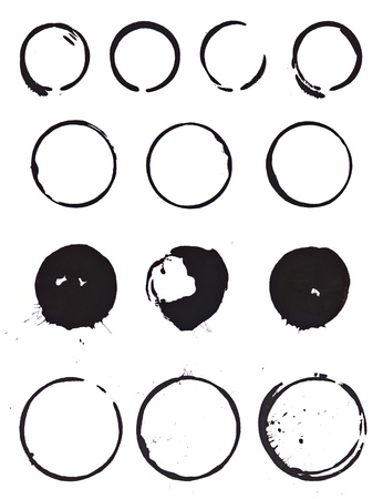 Various mug stain rings from 4 sets of coffee mugs done with black inkpaint.