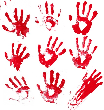 A composite of 9 bloody hand prints isolated on white